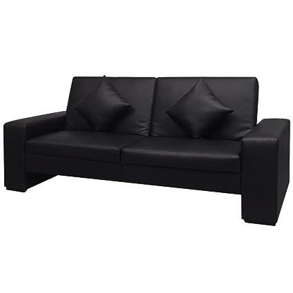 Canapé convertible similicuir noir avec accoudoirs