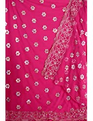 Exotic India Magenta Georgette Suit With Sequins Embroidered As Flower - Magenta