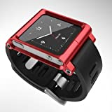 COCOPARK Multi-Touch Aluminum Watch Band Cover Case for Apple iPod nano 6th generation 8GB 16GB (Red) OEM