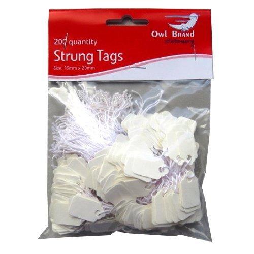 Blanche Prix tags avec de la ficelle - Pack de 200 - Taille 13mm x 20mm