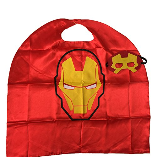 Starkma Kids Iron Man Stain Superhero Cape Boy Girl Costume for Halloween (Iron Man) (Tony Stark Halloween Costume)