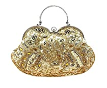 Ladies Elegant Rhinestone Rose Handmade Beaded Handbag Clutch Purse Wallet-Gold