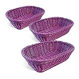 Colorbasket 31404-209 Hand Woven Waterproof Rectangular Basket, Royal Purple, Set of 3