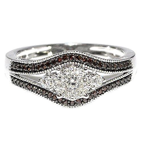 Cognac Diamond Bridal Ring 0.33Ct W 10K White Gold Split Shoulder New Wedding Ring Engagement