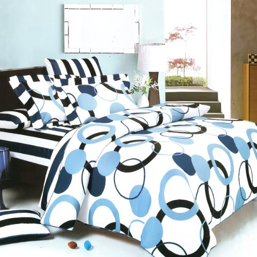 Blancho Bedding - [Artistic Blue] 100% Cotton 3PC Mini Comforter Cover/Duvet Cover Set (Queen Size)