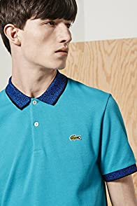 L!ve Short Sleeve Jacquard Collar Pique Polo Shirt