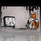 "Bild auf Leinwand ""Banksy Graffiti "" Kunstdruck Street Art – Chicken TV (80x120cm)"