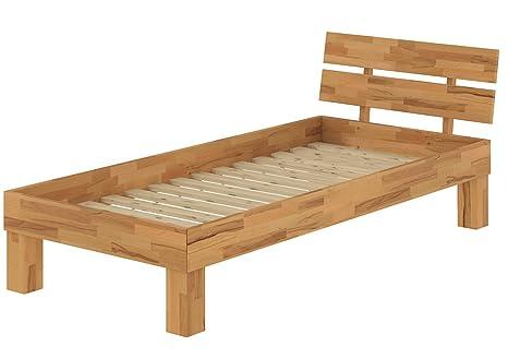 Solido extra lungo letto/futon 90x220 in faggio Eco laccato con assi di legno 60.86-09-220