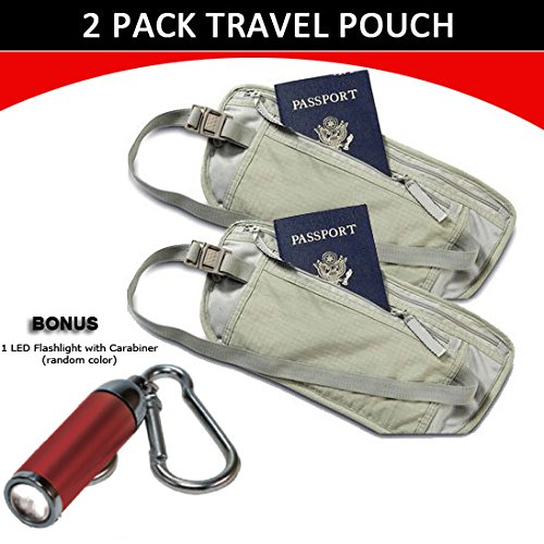 Travel Pouch Compact Security/ Hidden Money Waist Belt - 2 Pack + 1 LED Adjustable Focus Flashlight with Carabiner