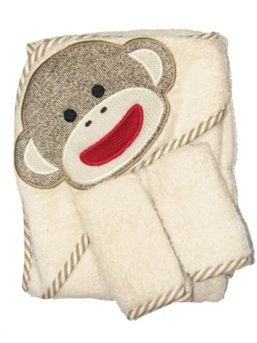 Sock Monkey Hooded Towel And 2 Washcloth Set By Baby Starters - Off-White - Not Applicable