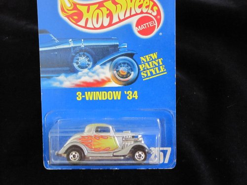 Hot Wheels, 3 Window 34 #257 All Blue Card Basic Wheels Small Rear Window