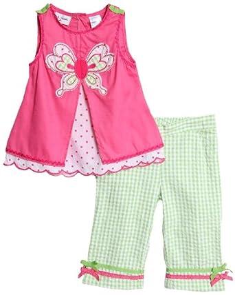 BT Kids Baby Girls' 2 Piece Pink Butterfly Tank Top Gingham Pants Set