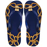 Womens Miss Trish Lock Blue Gold Padlock Flip Flops