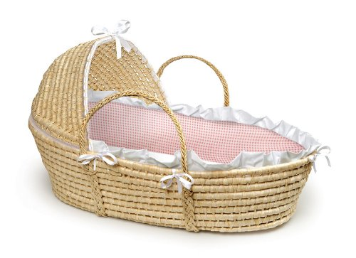 New MPN: 00876 Badger Basket Company Natural Baby Moses Basket with Hood - Pink Gingham Bedding