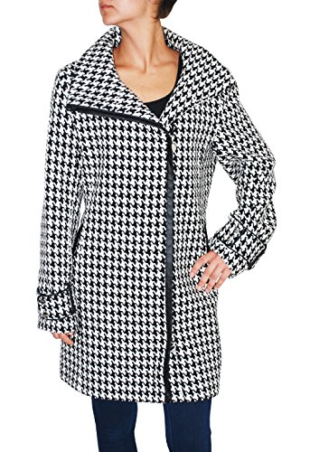 Calvin Klein Womens Zip Front Houndstooth Wool Blend Coat (Black/White, M)
