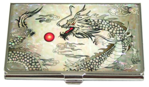 Mother of Pearl Dragon Design Metal Stainless Steel Business Credit Name Id Card Holder Case Organizer Wallet Master Artian Handcrafted