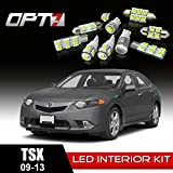 OPT7 12pc Interior LED Replacement Light Bulbs Package Set for 09-13 Acura TSX | White