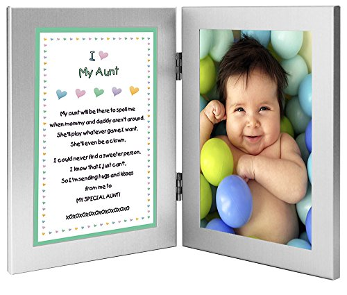 Christmas Gift for Aunt - Sweet Poem from Niece or Nephew in Double Frame - Add 4x6 Inch Photo