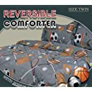 Twin Microfiber Kids Sports Gray Bedding Comforter Set