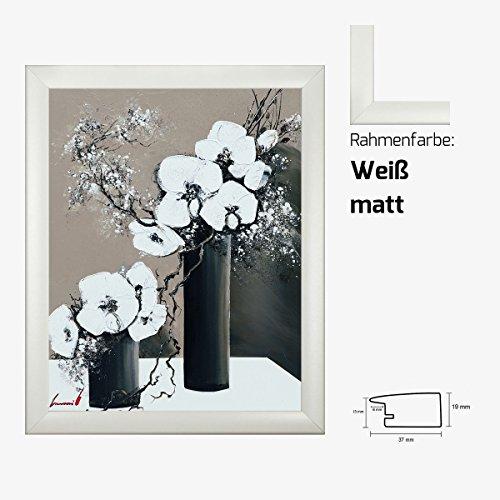 Kunstdruck TRAMONI - Tandem I weißer Mohn Blumenstrauß in Vase 40 x 50 cm mit MDF-Bilderrahmen & Acrylglas reflexfrei, viele Farben zur Auswahl, hier Weiß matt