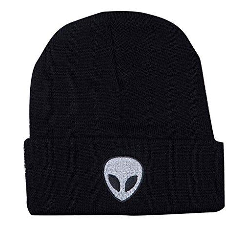 QHGstore Alien pattern ricamato maglia Cappelli con elastico caldo Beanie per adulti Nero