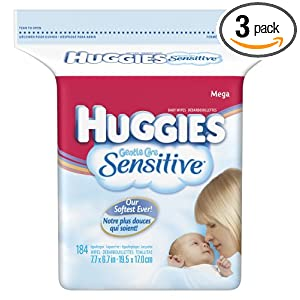 Huggies Gentle Care Sensitive Baby Wipes Popup Refill, 184-Count Pack (Pack of 3)