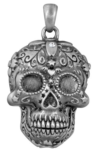 Day of the Dead Dia De Los Muertos Pewter Sugar Skull Charm Pendant