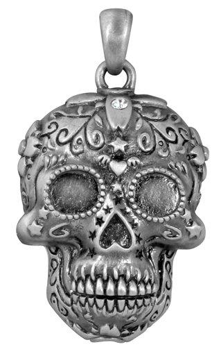 Day of the Dead Dia De Los Muertos Pewter Sugar Skull Charm Pendant