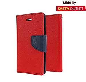 Micromax Canvas Sliver 5 Q450 Mercury Flip Wallet Diary Card Case Cover (Red) By Wellcare