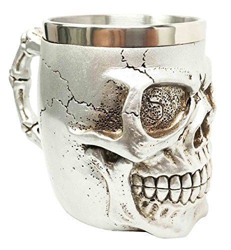 Silver Jointed Alien Skull Extra Terrestrial UFO Beer Stein Tankard Coffee Cup Mug (Skull Mug Coffee compare prices)