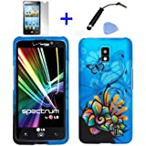 (4 items Combo: Stylus Pen, Screen Protector Film, Case Opener, Graphic Case) Blue Butterfly Orange Pink Green Color Daisy Flower Design Rubberized Snap on Hard Cover Protector Shell Faceplate Skin Case for Verizon LG Spectrum VS920 (will fit 1st Generation LG Spectrum Only)