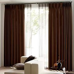 裏地付き 遮光カーテン 2枚組 形態安定加工 幅100cm×丈178cm ブラウン