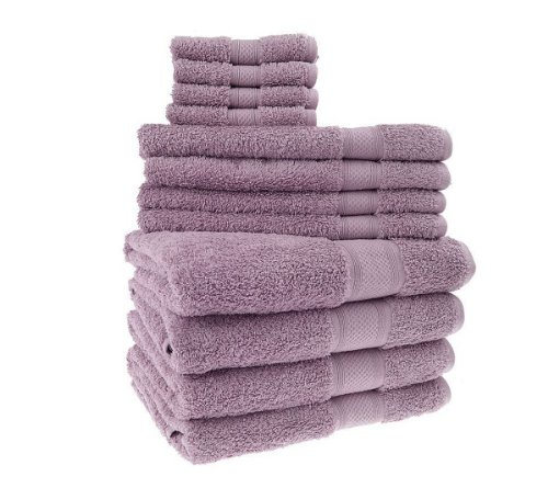 Blanket America 12-Piece Solid Towel Set, Dusty Purple