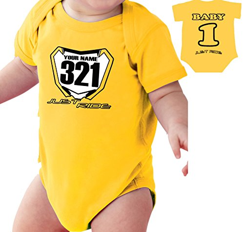 motocross-baby-number-plate-one-piece-creeper-personalized-suzuki-rm-yellow-6-month