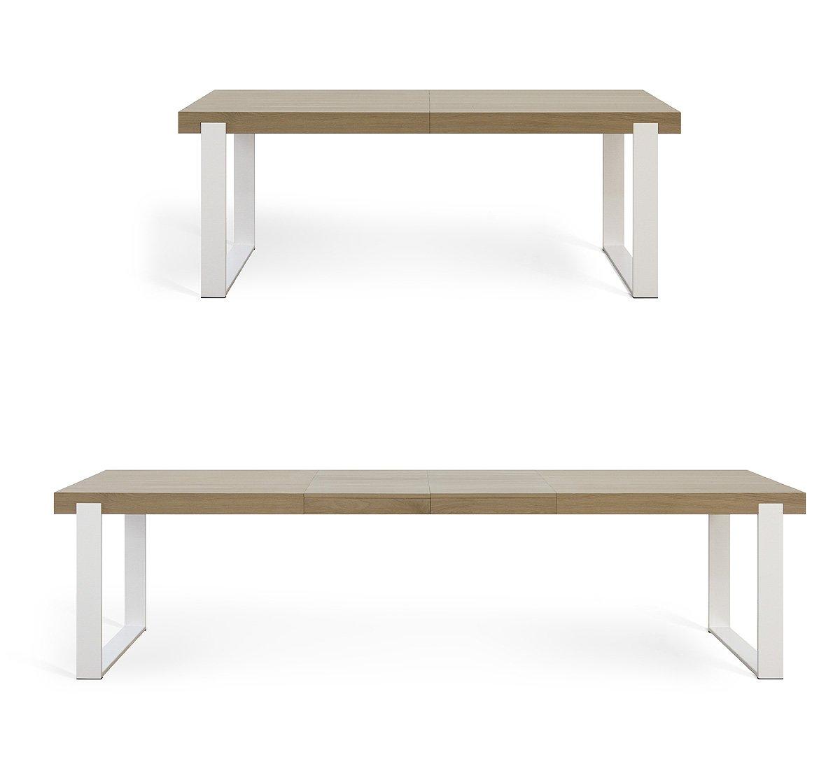Miloni Esstisch FRAME, 180-280x90x76 cm Eichen / Massivholz ausziehbar, Tischbeine alu / weiß, holzfarbe natur