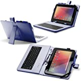 "Fosmon Leather Case with Stand, USB Keyboard and Stylus for 10"" inch Tablets (10.1"" ePad / aPad, Google Nexus 10, Acer Iconia Tab A200, and More) - Dark Blue"