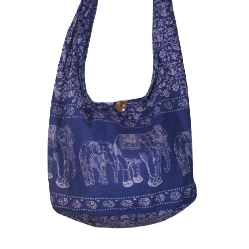 Thai Monk Buddha Cotton Elephant Sling Crossbody Messenger Bag Shlouder Purse Hippie Hobo Color Dark Blue