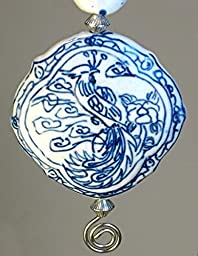 Large Asian Chinese White & Blue Porcelain Style Glass with Peacock Bird Design Ceiling Fan Pull Chain