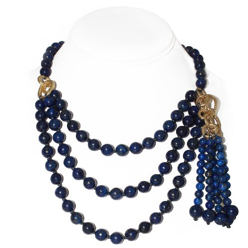 Multi-layer Round Navy Blue Lapis Bead Necklace (10mm)