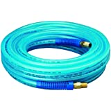 "Amflo 12-50E Blue 300 PSI Polyurethane Air Hose 1/4"" x 50' With 1/4"" MNPT Swivel Ends And Bend Restrictor Fittings"