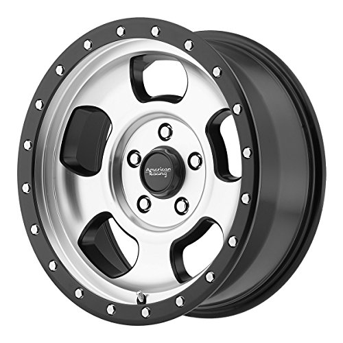 American Racing AR969 Ansen Off Road Wheel with Machined Finish and Satin Black Ring (17x8