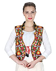 VASTRAA FUSION MULTICOLOURED EMBROIDERED COTTON COLLAR JACKET ON BLACK BASE - LARGE