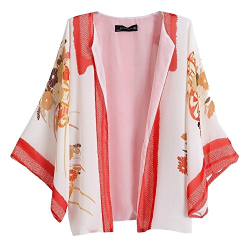 POJ Japanese Kimono Style Chiffon Jacket (Happi Coat) [ M / L For Women ] Cosplay (L)