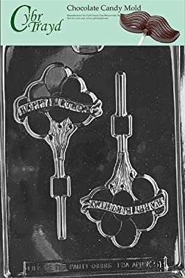 Cybrtrayd K051 Happy Birthday Balloons Chocolate Candy Mold with Exclusive Cybrtrayd Copyrighted Chocolate Molding Instructions
