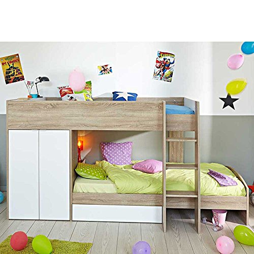 kinderhochbett mit integriertem schrank 90x200 pharao24. Black Bedroom Furniture Sets. Home Design Ideas