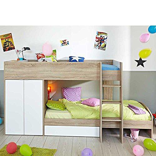 Kinderhochbett mit integriertem schrank 90x200 pharao24 for Schrank 90x200
