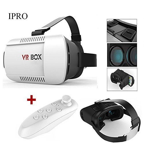 3D VR Glasses+Bluetooth Controller,IPRO Google Cardboard Version Kit 3D Virtual Reality Headset Head-mounted VR Box Home Theater Movie Video Game for 4.7-6 inch IOS&Android Smartphones