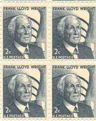 Frank Lloyd Wright Set of 4 x 2 Cent US Postage Stamps NEW Scot 1280