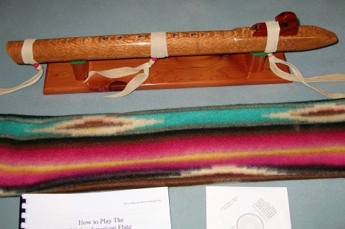 Native American Flute - Flamed Lace Wood - Key of Low D - Handmade.. with Stand, Travel Bag and Book