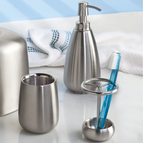 Interdesign stainless steel bath countertop accessory set for Bath countertop accessories